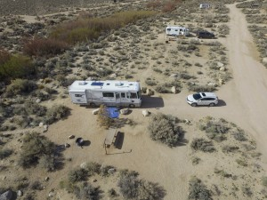 Arial view of our campsite via Jesse's drone.
